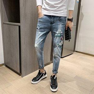 cZhw9 Denim trendy 9-fen ku 9 fen ku ricami in stile coreano slim fit pantaloni 9 punti uomini bei di bel ricamo 9 punti pantaloni sociali