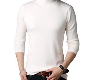 BROWON Hombre Marca suéter suéter colorido Slim Fit suéteres ocasionales de los hombres de color sólido Turtelneck Punto Juvenil