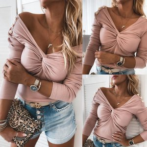 Блуза Vintage Button 2020 Осенняя мода Женские трикотажные пуловеры Sexy Тощий дамы Топы Новые Streetwear Pink Plus Size