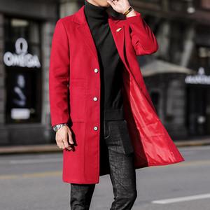 Lange Trenchcoat Herren Rot Steampunk graue Wolljacken Herrenmode Mode Wintermäntel für Elegante lange Jacken Korean