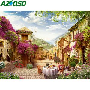 AZQSD Coloring nach Zahlen DIY Landschaft Unframe Malen nach Zahlen Leinwand Kits Stadt Zeichnung auf Leinwand handgemaltes Kunst-Malerei