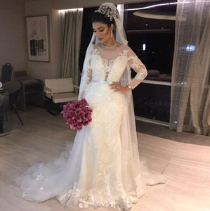 Gorgeous Mermaid Crystal Wedding Dresses Long Sleeves overskirt Bridal Gowns 2021 Vintage Lace Applique vestidos de noche wedding Gown