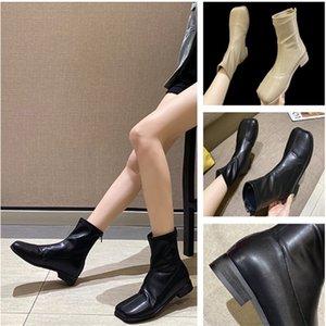 Mid-Autumn tubo Retro semplice britannico stile delle donne Fashion Square Solid stivali punta Heel Boots colori spessi casual selvaggio Zipper Boot