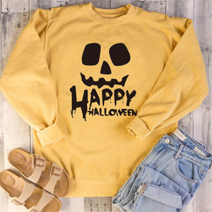 Хэллоуин женщины фуфайки Letters Printed O шеи длинного рукав Мода Блуза для женщин вскользь Сыпучего Femme Одежды