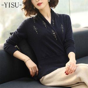 YISU Knitted sweaters women Autumn Winter fashion Bead embroidery pullover Long Sleeve Jumper warm Slim Sweater women 0925