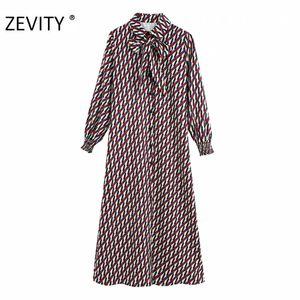 Zevity kadın bağbozumu geometrik baskı tek göğüslü gömlek elbise şık ofis bayanlar kol iş elbiseleri DS4383 C200919 uzun bağladı bow