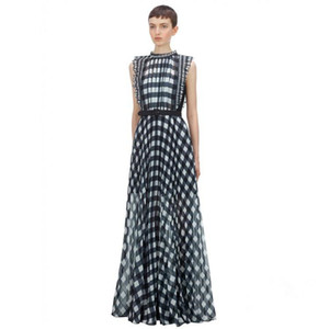 2020 spring and autumn new fashion thin one-piece wide leg trousers sleeveless black and white checked suit v neck high waist jumpsuit