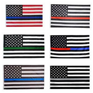 3x5FT Thin Blue Line Red Line Flags 6 Styles Polyester-Flagge US-Polizei Feuer Respekt und Ehre Banner Flaggen CCA12503 60pcs