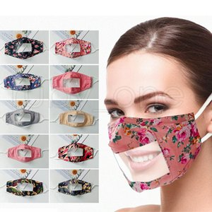Deaf-mute Transparent Face Mask Washable Reusable Camouflage Plaid Floral Printing Masks Anti Dust Earloop Clear Lip PVC Masks RRA3463
