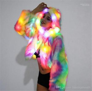 Led Nights Open Stitch Hooded Plus Size Feamle Clothing Fashion Style Casual Apparel Christmas Womens Winter Designer Faux Fur