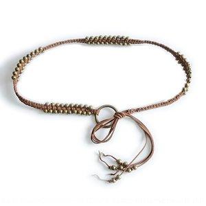 Ethnic ETzRP cinturón decorativo nuevo anillo de hierro perlas patrón de cobre cadena de cera cuerda de la cintura de las mujeres tejidas delgada Grupo estilo étnico