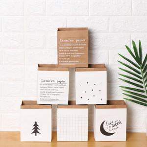 1PC Layers Double Kraft Paper Bag Sundries Storage Nordic Style Flowerpot Dried Plant Basket Vase Home Decor Wedding Supplies