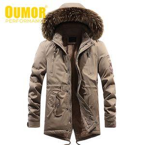 Oumor Homens Winter New Longo Casual Collar Fur revestimento encapuçado Parkas Homens Outdoor Moda espessura quente velo bolsos do casaco parkas