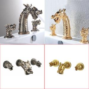 Oro y bronce en color latón Material de la cubierta y de montaje en pared 2 Modelos frías baño de agua de grifo Artisitc Dragón