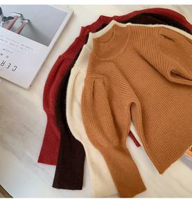 Fashions qualidade New Kids Camisolas INS Little Girls Puff luva Camisolas pulôver outono Adorável Unisex Crianças Roupa 1-4T