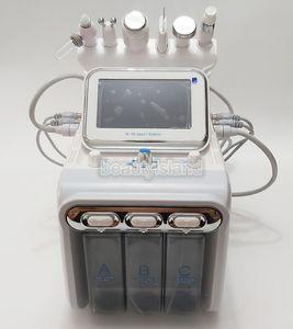 6 일 산소 얼굴 기계 Hydradermabrasion 초음파 RF 콜드 해머 스파 워터 산소는 히드라 얼굴 클리너 하이드로 더마 브레이 젼 스프레이