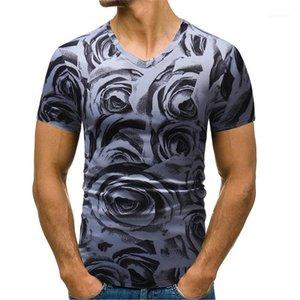 Impresión floral del diseñador del Mens camisetas de verano delgado ocasional Manga corta V cuello jersey camisetas para hombre de la manera ocasional Tees