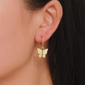 Gioielli di moda di colore della caramella farfalla orecchini per le donne coreane Insect acrilico fascino Orecchino ragazze indiane all'ingrosso