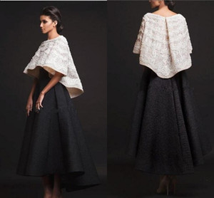 New Black White Krikor Jabotian Two Pieces Evening Dresses Ankle Length Half Sleeves Prom Dress Formal Party Gowns