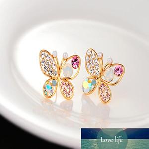 Нового Hollow Brilliant Красочного Кристалл Имитация Pearl подарки Бабочка стержень ухо серьга для женщин девушек ювелирных изделий