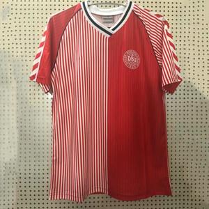 1986 Retro Denmark Jersey 1992 1998 # 10 M.Laudrox # 5 Heintze Camisa de futebol # 11 B.Laudrox antigo Maillot
