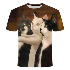 Кошки футболки Мужчины / Женщины 3d печати Meow Star Cat Hip Hop мультфильм Tshirts лето Топы Тис Мода 3d рубашки