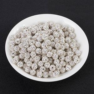 PlySU 10MM beyaz kil Diy DiamondBracelet Diamonddrilling topu tam elmas DIY bilezik delik delme topla Shambhala boncuk