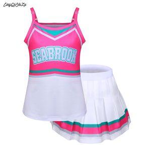 2020 Costume Cheerleader Moda Dia das Bruxas Cosplay Girls Máscara Camisole com Mini saia plissada para Dançar