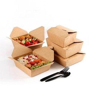 Boîtes à lunch de papier Kraft jetables Takeaway pliant boîte d'emballage rectangulaire déchirable A02