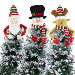 Ornamento Winter Party grande árvore de Natal Topper Decoração de Santa do boneco de neve da rena Hugger Xmas Suprimentos férias DHE1258