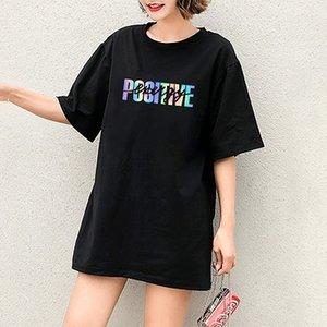 Mode für Frauen DIY-T-Shirts Mädchen-beiläufige T-Shirts mit Buchstaben-Muster-Druck der neuen bunten Buchstaben mit kurzen Ärmeln Qualitäts bequeme Tops