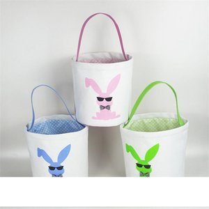 Easter Baskets Sequins Bunny Buckets Monogrammable Easter Egg Buckets Totes Egg Hunting Bag Kids Gift Organizers A05