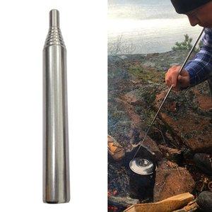 304 paslanmaz çelik Açık Pocket Körük Katlanır Yangın Aracı Kamp Survival Oral Yangın Tüpü 9.3cm