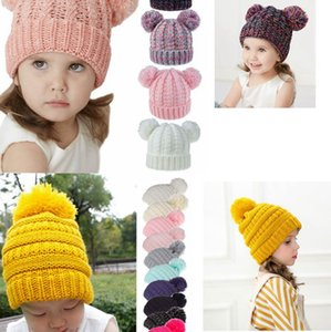 Kids Knitted Hats Winter Warm Childrens Wool Ball Beanies PomPom Hat Boy and Girl Caps single double ball Beanie Cap party hats KKA8038