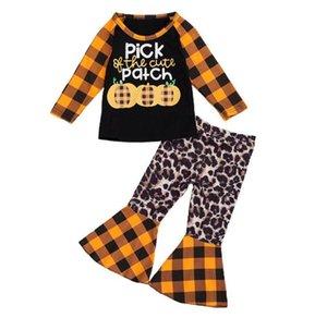 Halloween Children traje Polipab calabaza Naranja Plaid 2 piezas Conjunto de manga larga Camiseta de manga larga + Pantalones de moda inflamados Playsuit D9402