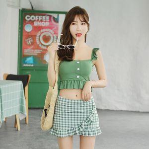 evsys OUOKb Plaid neuen Split Frauen Plaid hipster Spitze Straps Kaziyao Rock Sling Badeanzug Mode koreanischen Rock Badeanzug