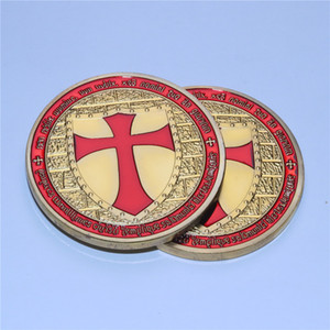 Knights Templar Medallion Poker Guard Gold Red Cross Challenge Coin 5pcs lot Free Shipping