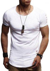 Разорванные Рубашки мужские Hole конструктора футболки Homme Fit Shirt Mens Short одежда Мужская Сплошной цвет