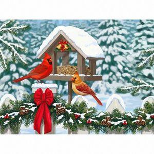 Окрашивание Стразы Snow Bird Animals Ручная роспись Наборы Drawing Canvas картинки Зима Рождество DIY картины маслом подарков voUu #