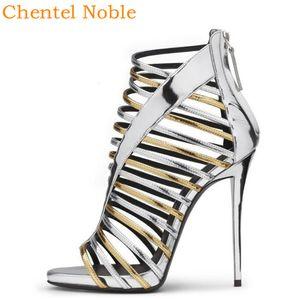 2020 Новые Chentel Высокий каблук Полые Серебро Золото Сандалии Behind Zipper Embellished стилет Женщины Сандал Большой размер лета