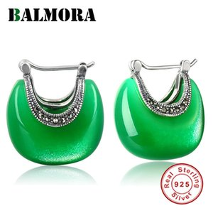 Balmora reale 925 Sterlingsilber-Retro- eleganter Opalbolzenohrringe für Frauen-Dame-Geschenk Ethnic Mond Form Mode-Schmuck