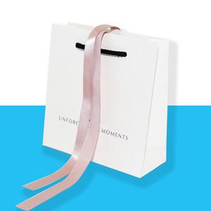 Atacado de alta qualidade bolsas Original Jóias Gift Bag Para Pandora Bracelet sacos de jóias de papel momentos inesquecíveis