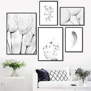 Arte negro nórdico minimalista Negro Lienzo Pintura impresión del cartel de diente de león pluma modular imagen para sala de estar Decoración H141