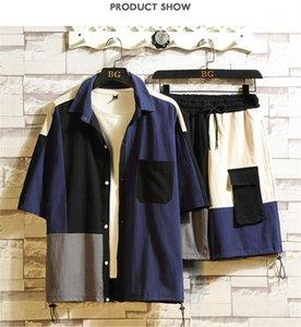 Eşofmanlar Kontrast Renk Çoklu Japanese Style Moda Suit Erkek Giyim 2 Adet Set Yaz Erkek Designer Cepler