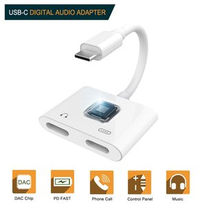 Dupla TypeC Aux Carga Tipo C Adapter Heapdhone C Jack Splitter para Samsung S20 Ultra Z Virar Huawei 2EM1 DAC Audio Converter