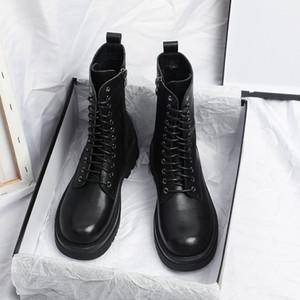 Yuxiang Otoño Botas Botas Mujeres Redondo Toe Hebilla Zapatos Mujeres Aumento interno Moda Moda Tallas Cuadradas Tacones Cuadrados