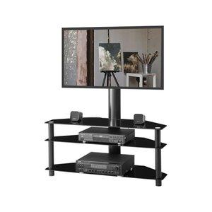 Mode Noir multi-fonctions Angle hauteur réglable TV en verre trempé Support Support Plasma support Trois couches de verre étagère W24104949