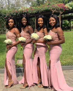 Aso Ebi 2021 Arabic Pink Lace Beaded Bridesmaid Dresses One Shoulder Guests Dresses Sheath Formal Party Evening Prom Gowns