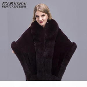 Women Shawl Fox Fur Trimmed Genuine Fox Fur Wrap Winter Female Cape Fox Fur Trimmed Stole Winter Warm Poncho