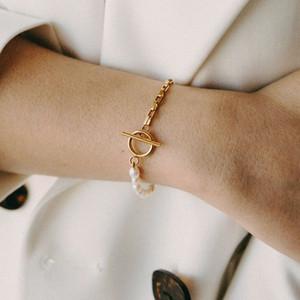 High-quality stainless steel chain ??????? ??? ?????? Natural pearl fashion charm pulseiras punk handmade ?????? ???????? 2020